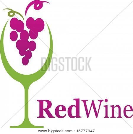 wine glass icon with grape