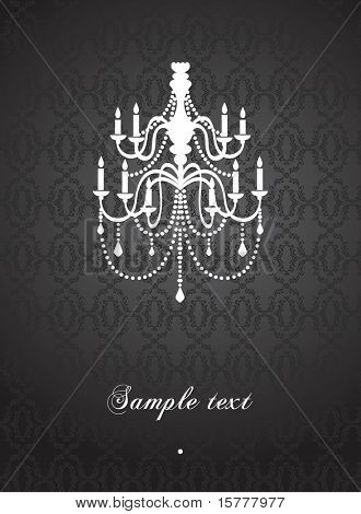template card with vintage chandelier