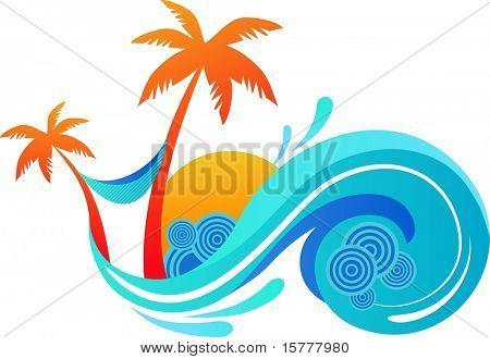 夏天-棕榈树和海浪的插图