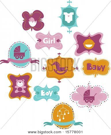 set of frames with baby icons - for boys and girls