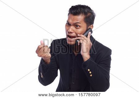 men showing his expression angry face while his hand ask where the money isolated on white background