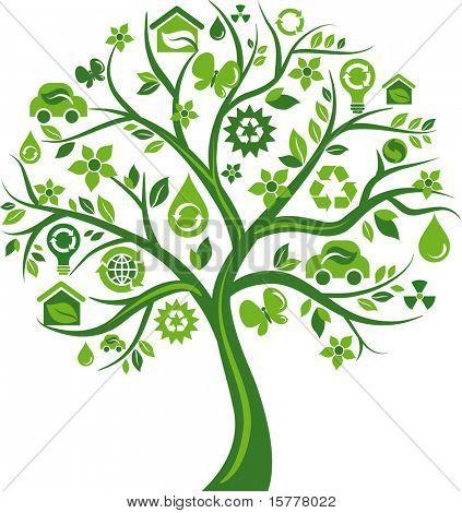 grünen Baum mit vielen Umwelt icons