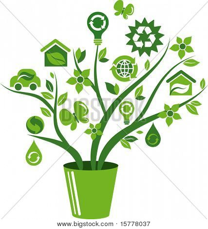 Green flowerpot with environmental icons