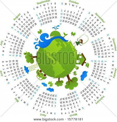 Natural circle calendar 2010 - vector
