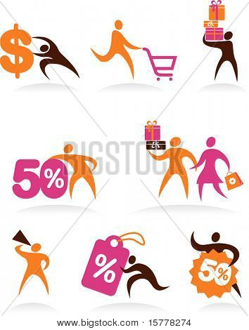 collection of shopping people icons