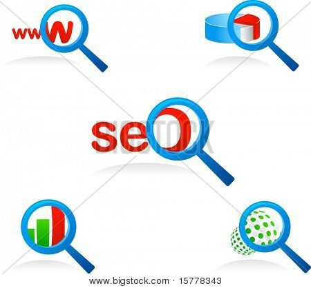 set of vector magnifier glass icons and symbols for searching and SEO