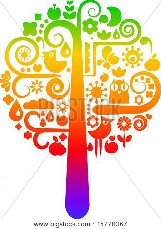 Colorful vector tree with icons of birds, butterflies and flowers