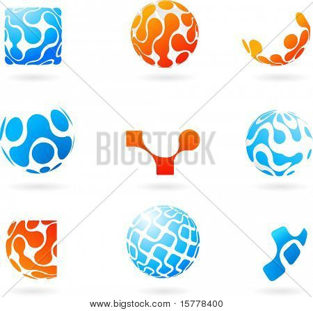 collection of vector modern abstract design elements with globes and circles