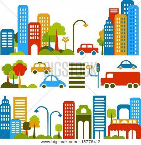 Ilustración de vector de una calle de la ciudad con iconos de colores de autos, árboles y edificios