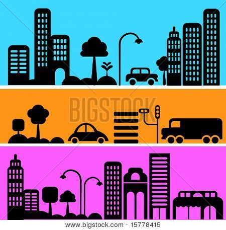 Vector illustration of a city street with icons of cars, trees and buildings