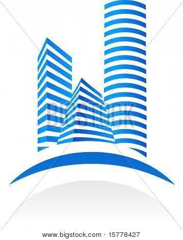 Blue vector real estate  symbol on white background