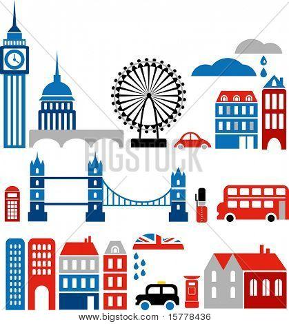 Vectorillustratie van Londen met kleurrijke pictogrammen van routemaster-bussen en historische gebouwen