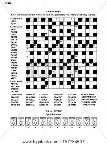 Puzzle page with two puzzles: big 19x19 criss-cross word game (English language) and small visual puzzle with whimsical faces.  Black and white, A4 or letter sized. Answers are on separate file named p19646.