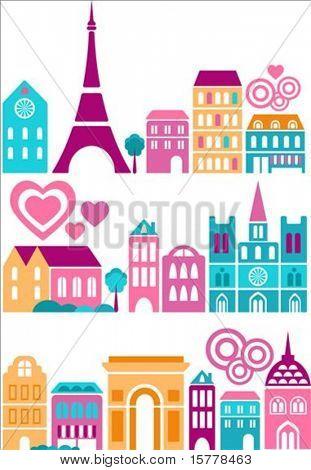 Ilustración de vector de una ciudades del mundo con iconos de colores de árboles y edificios