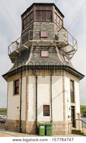 Old harbour control tower Aberdeen Harbour Scotland