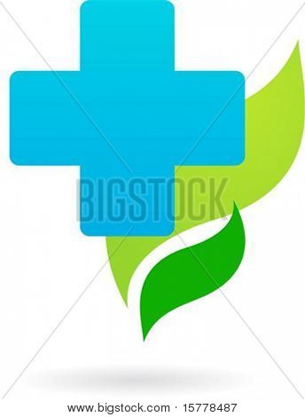 Humanitarian  Blue cross on a green leaves background