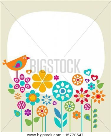 Easter card template with flowers and a bird