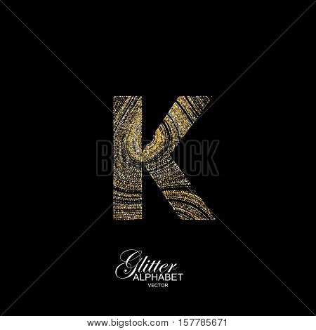 Letter K of golden and silver glitters. Typographic vector element for design. Part of marble texture imitation alphabet. Letter K with diffusion glitter lines swirly pattern. Vector illustration