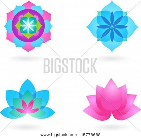 Four abstract yoga backgrounds