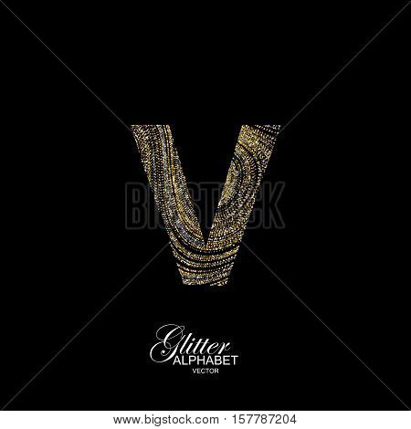 Letter V of golden and silver glitters. Typographic vector element for design. Part of marble texture imitation alphabet. Letter V with diffusion glitter lines swirly pattern. Vector illustration