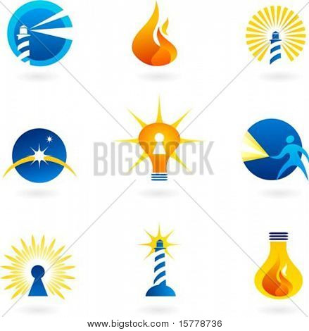 Collection of light and fire icons