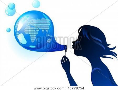 Girl blowing a bubble-shaped Earth