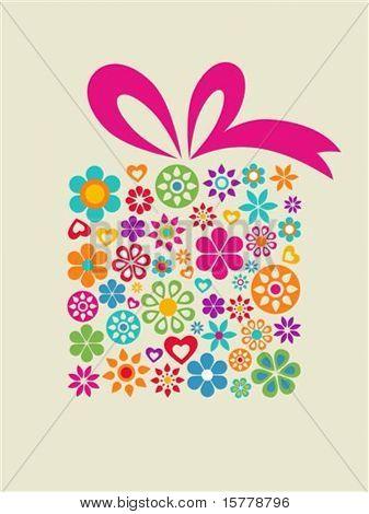 vorhanden-Box mit Blumenmuster
