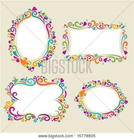 Collection of four floral frames