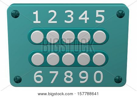 Combination lock isolated on white background. 3D rendering.