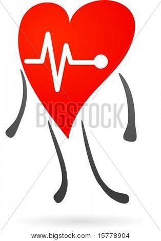 Heart character with EKG graph
