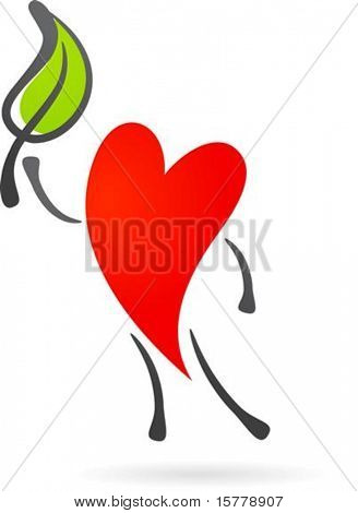 Heart character with a green leaf
