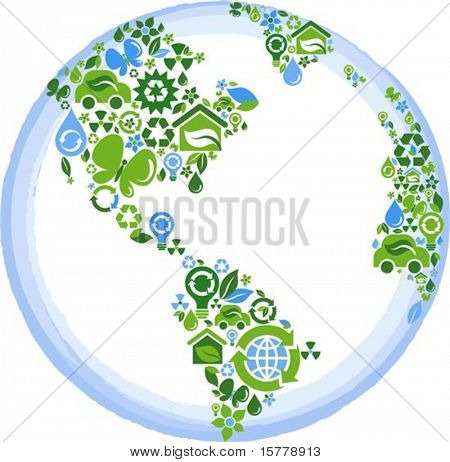 globe outline compose of green and blue ecological icons