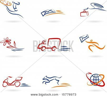 Collection of delivery and post icons