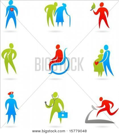 Collection of colourful healthcare icons