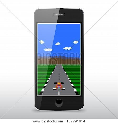 8-Bit Pixel Retro Race Game On The Phone