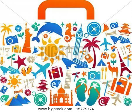 Travel suitcase with many colourful tourism and vacation icons