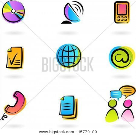 Collection of colorful  communication icons - 2