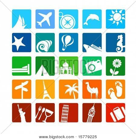 Huge tourism and vacation icons set