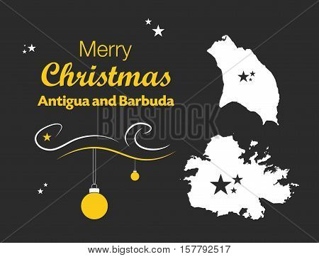 Merry Christmas Illustration Theme With Map Of Antigua And Barbuda