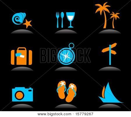 Collection of colourful tourism and vacation icons - 3