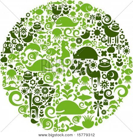 Green globe outline made from birds, animals and flowers icons