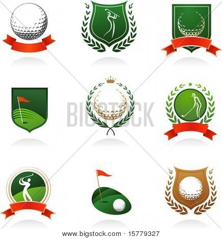 Collection of golf labels, badges and icons