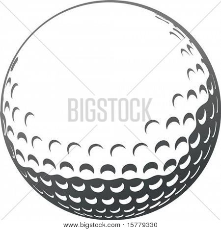 Vector golf ball close-up