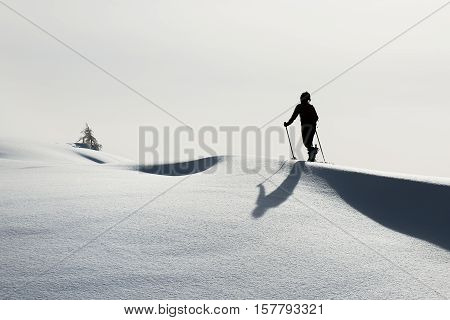 A woman practice ski mountaineering alone in the alps