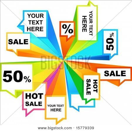 Collection of colorful sale tags and callouts