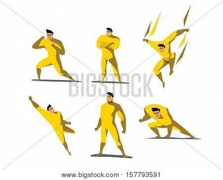 Vector illustration set of Superhero actions, different poses, business power icons set, cartoon colored style, yellow costume.