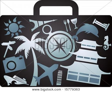 X-rayed suitcase with tourism icons