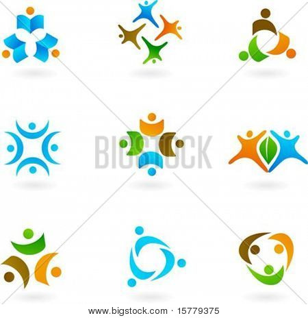 Collection of abstract human icons