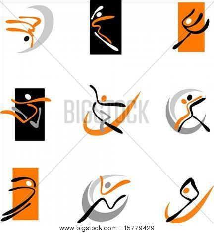 Collection of abstract dancing icons