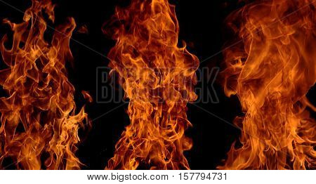 Orange and Red flames of bonfire on black background